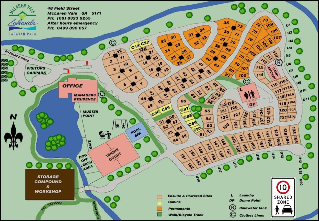 McLaren Vale Lakeside Caravan Park Map